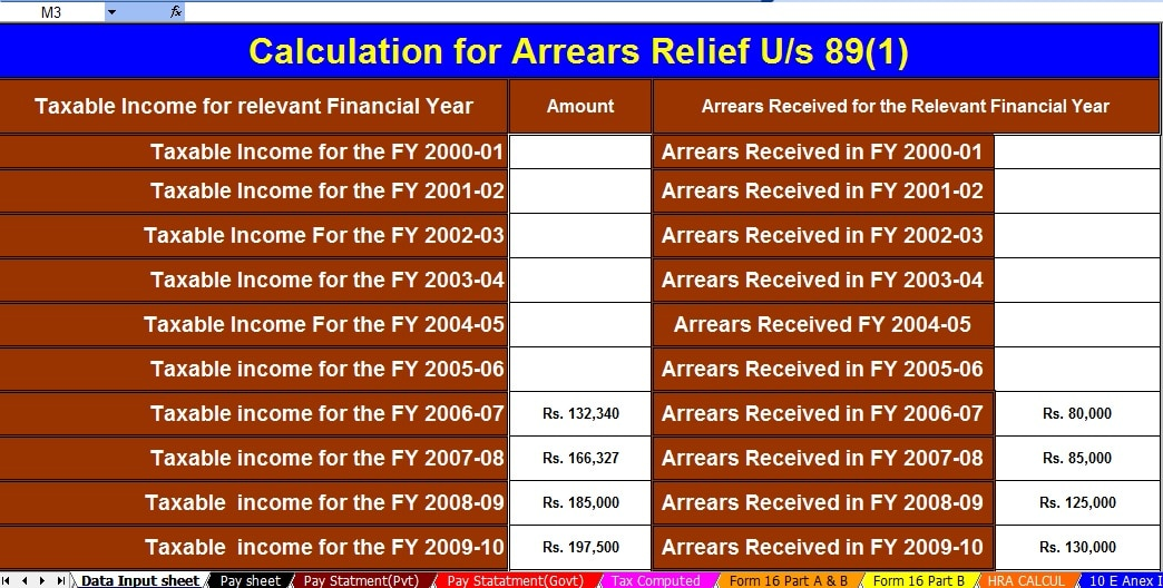 Income Tax Section 80TTA Rebate from Savings Bank Interest  Including Automated Income Tax Salary Arrears Relief Calculator U/s 89(1) for the F.Y.2020-21