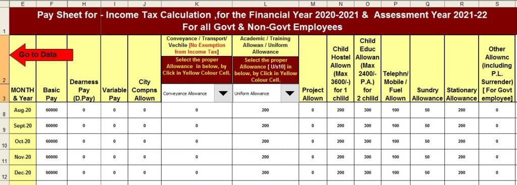 Income Tax Calculator for the W.B. Govt  employees for F.Y.2020-21