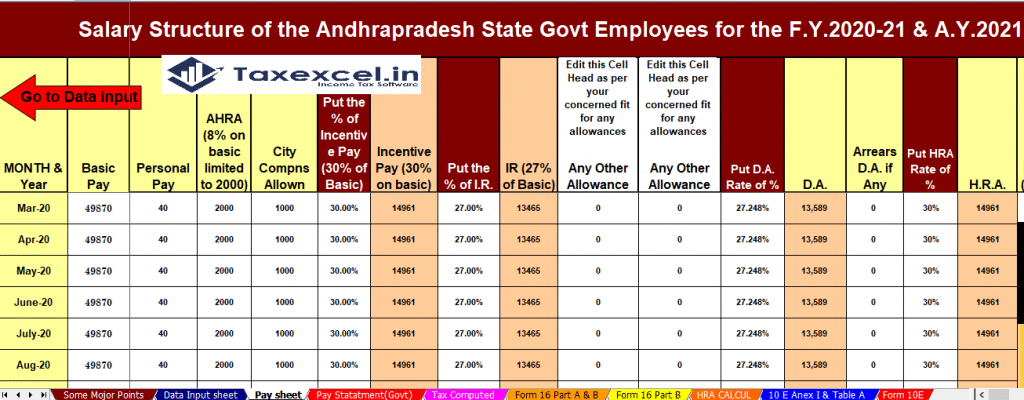 Income Tax calculator for Andhra Pradesh State Employees