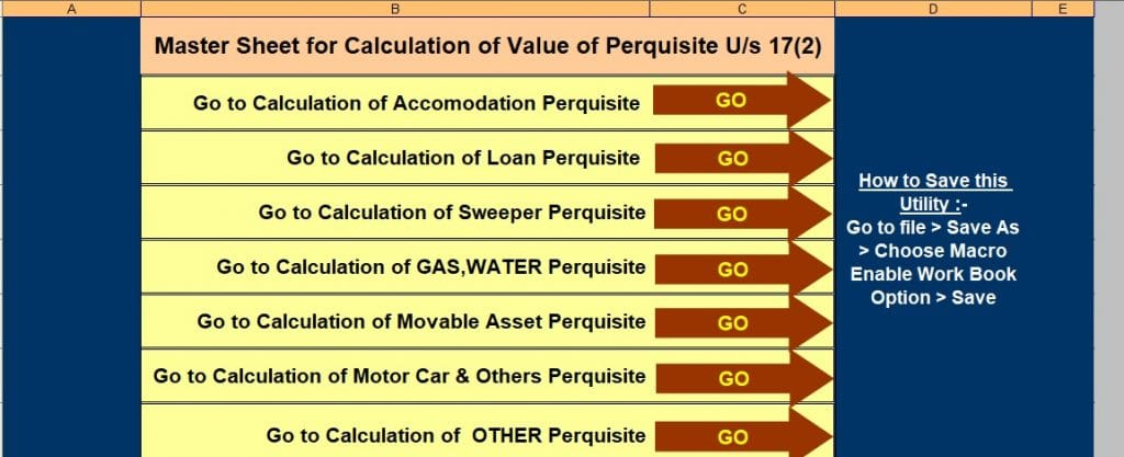 Income Tax Value of Perquisite U/s 17(2) Calculator